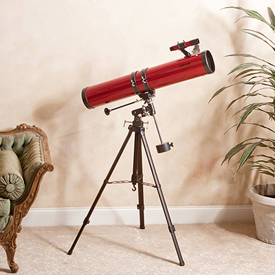 CARSON<sup>&reg;</sup> Red Planet 45x-100x Newtonian Reflector Telescope - View the Rings of Saturn, the Moons of Jupiter and much more with this Newtonian Reflector telescope. Features include large 114mm diameter reflecting mirror which captures plenty of light for crisp, bright, detailed images. Also includes a K20mm and K9mm eyepiece, high-quality, heavy duty aluminum tripod and a sturdy equatorial mount to counteract shaking and movements and setting circles which allow you to dial in coordinates to find specific stars and constellations.